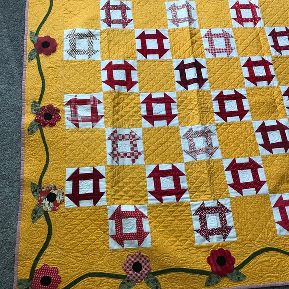 Churn dash quilt yellow and red